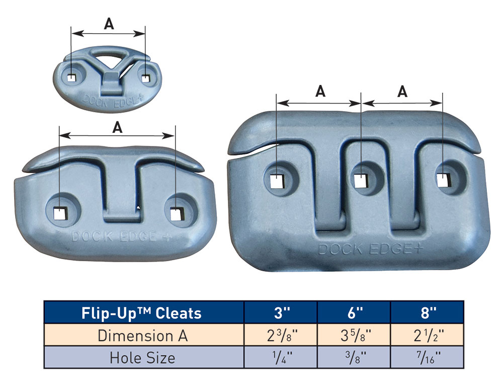 Polished Aluminum Flip Up Dock Cleat 8 in.